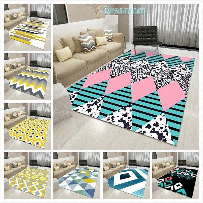 Nouveau mode imprimé géométrique Flanelle Tapis et tapis pour le salon Anti Slip paillassons Chambre Tapis Canapé Table Tapis S2gS #