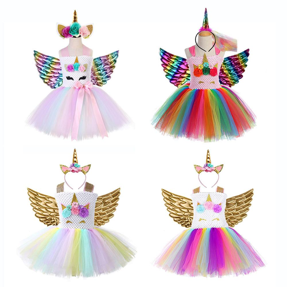 Rainbow Princess Enfants Licorne Dress Girl Licorne Christmas Tutu Robe Flower Girl Fête Robe de soirée avec bandeau de la Licorne Ensemble d'aile T200624