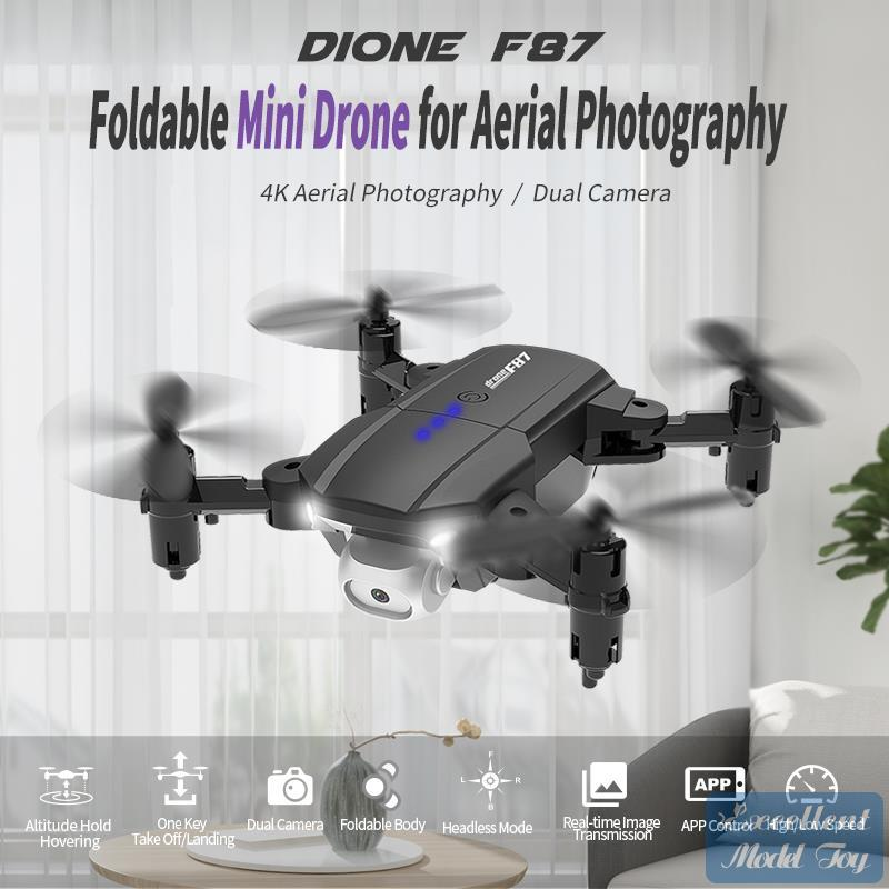 F87 4K HD Double Camera FPV Mini Dronetoy، Track Flight، وضع مقطوع الرأس، LED ضوء الارتفاع عقد، لفتة صورة كوادكوبتر، عيد الميلاد كيد هدية، 3-1