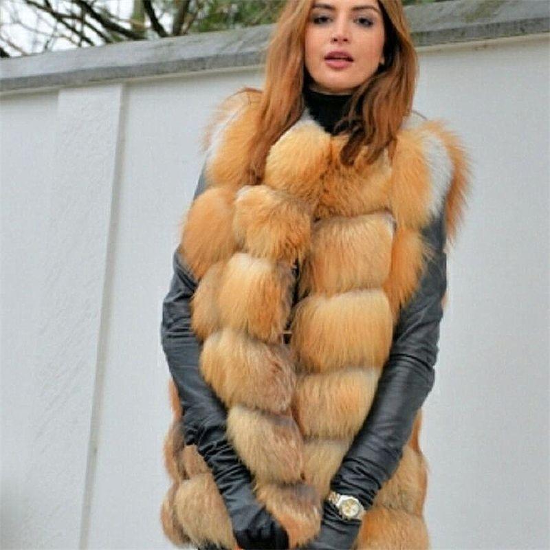 Mulher nova raposa vermelho colete de pele natural pele de raposa real raposa real colete curto casual moda quente outono e inverno estilo europeu rua y201012