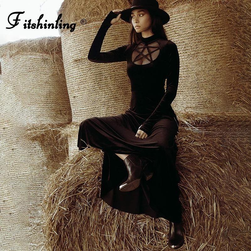 FITSHINLING PENTAGRAM Velvet Robe gothique Split Split Vintage Midi Robes pour femmes à manches longues Noir Élégant Hiver Vestidos