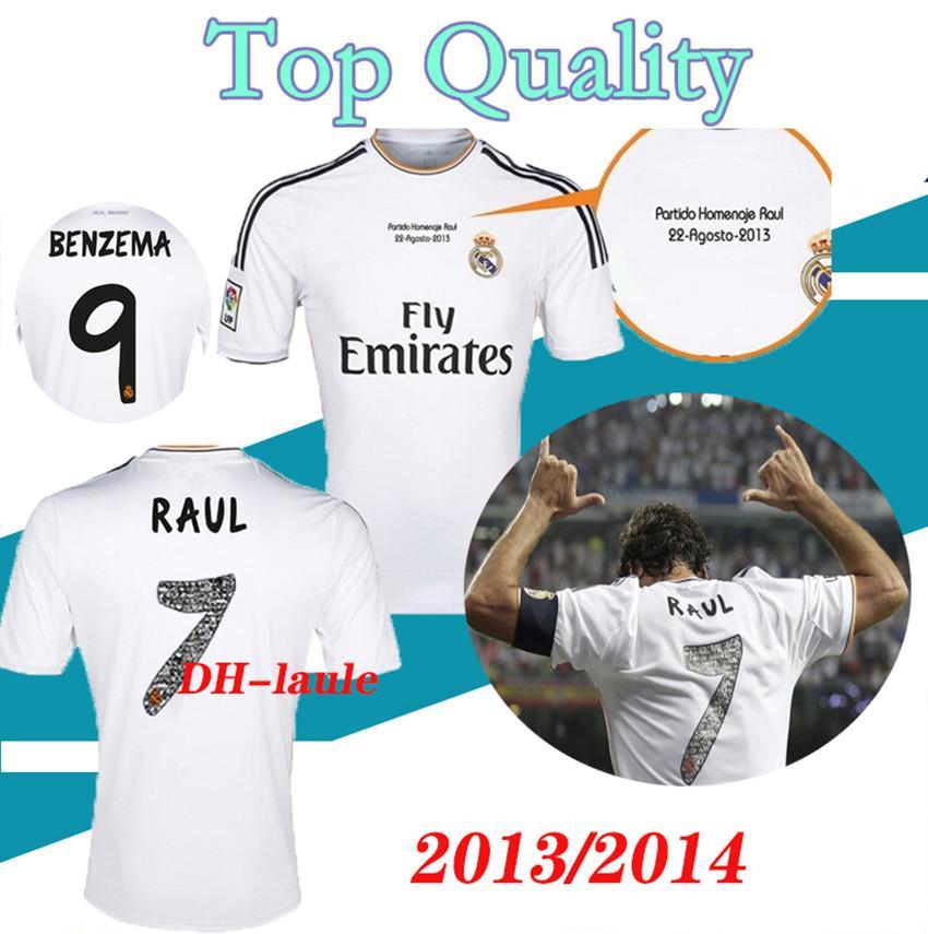 S-XXL 2013 2014 real madrid soccer jerseys 13 14 RONALDO RAUL Retro football shirts Vintage ISCO Maillot SERGIO RAMOS BENZEMA Camiseta