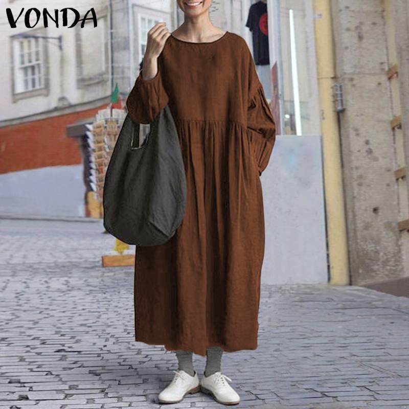 Manica 5XL pieghe del vestito dalle donne lunga dell'annata maxi vestiti VONDA Boemia vestito solido 2020 femminile casuale allentato del partito lungo Vestidos