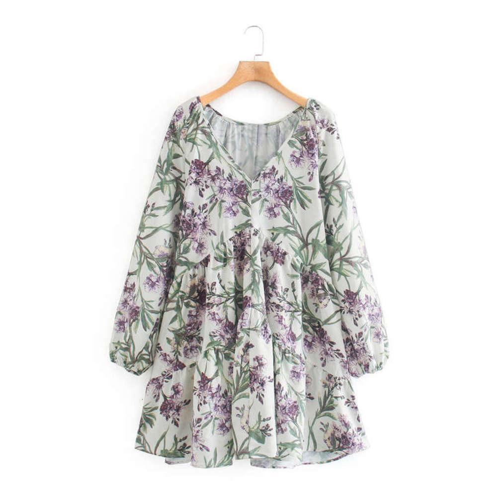 Novo Q3109 Feminina Moda Verão 2020 V-Pescoço Flor Roxo Folha Verde Imprimir Vestido de Manga Longa