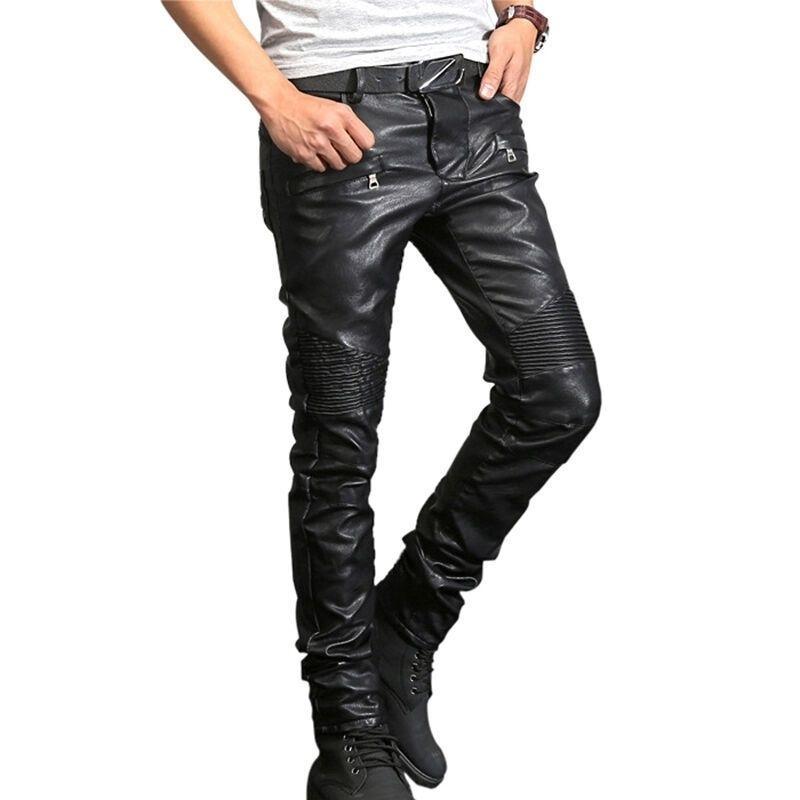 NOUVEAU FRANCE Style Mens Mens Moto Pantalon Moto côtelé Skinny Noir Pu en cuir Pu Pantalon Slim Pantalon Crayon Taille 29-40 201118