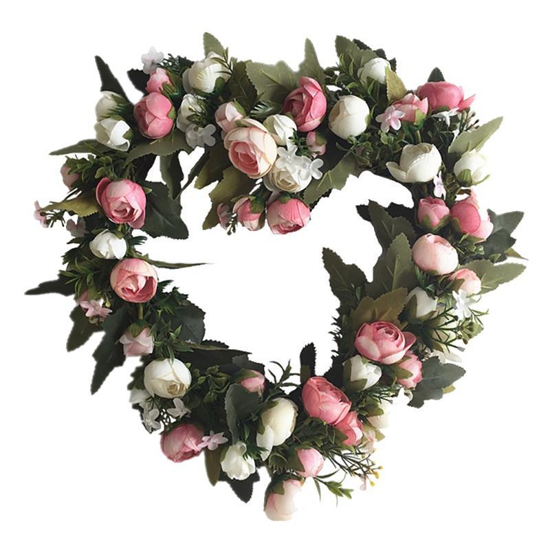 Artificial Rose Flower Heart Shape Wreath for Front Door Window Wall Wedding Venue Layout Props Farmhouse Home Decor