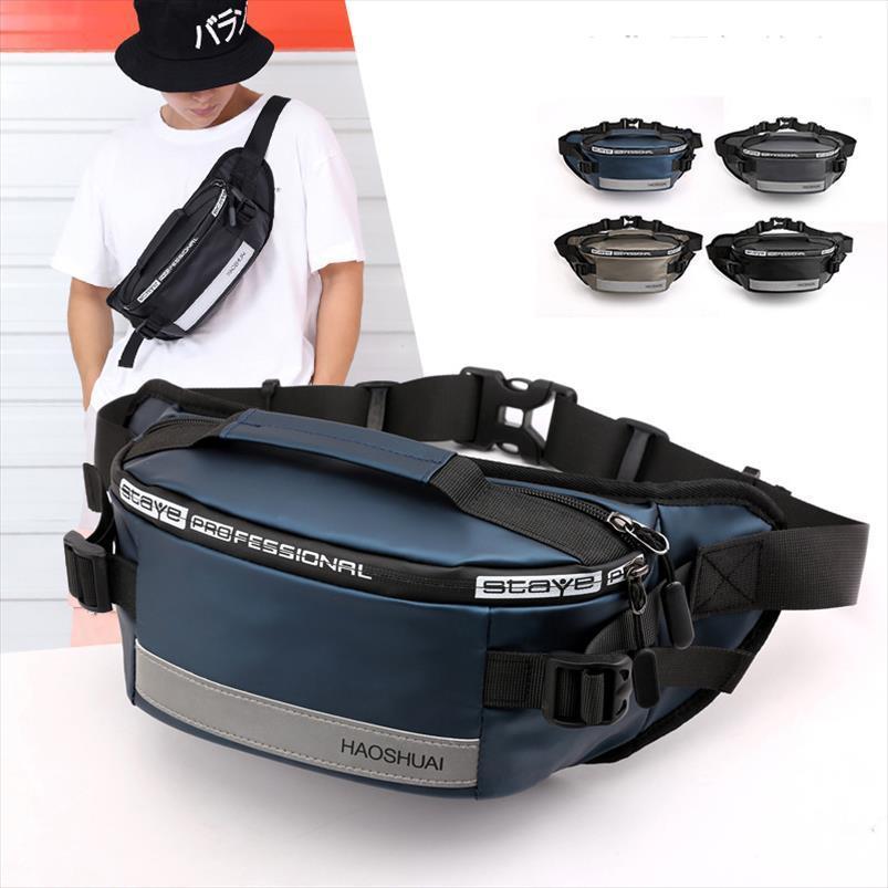 Anti Theft Male Belt Functional Shoulder Bag Bags Multi Close Hip Bum Nylon Reflective Strip Men Waist Fanny Fitting Chest Pack Hubag