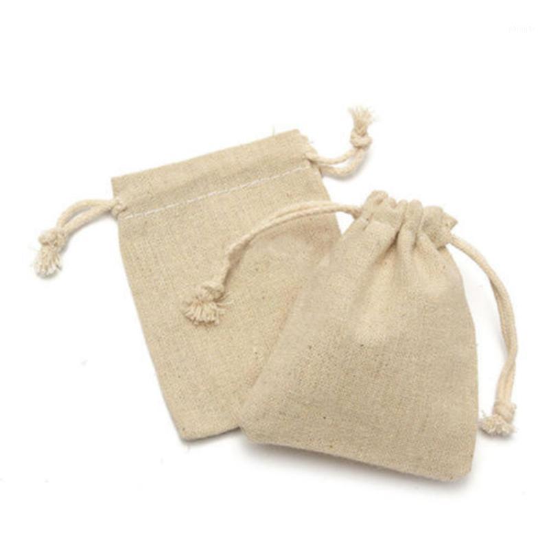 حقيبة صغيرة الكتان الطبيعي الحقيبة الرباط الخيش الجوت كيس مع الرباط 1