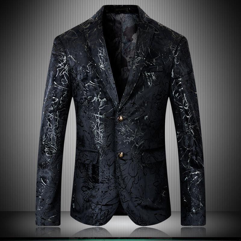 High Men Blazers Quality Velvet Printed Single Breasted Prom Man Blazers Plus Size 4xl 5xl Fashion Casual Men's