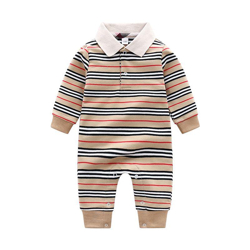 ما قبل البيع الأطفال مصمم رومبير أزياء الخريف الطفل الأولاد الترفيه محبوك قطعة واحدة ملابس الرضع القطن الوليد بذلة 0-2 سنوات