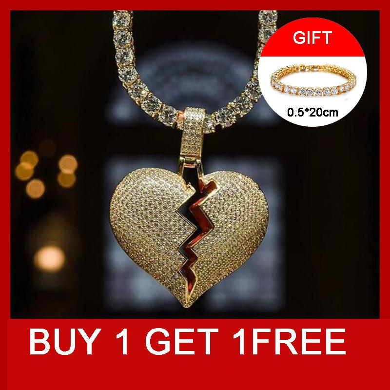 Hip Hop Bling Iced Out Tennnis Chain Copper Full Rhinestone Rope Chain Heart Breaking Pendant & Necklace For Men JewelryQ0115