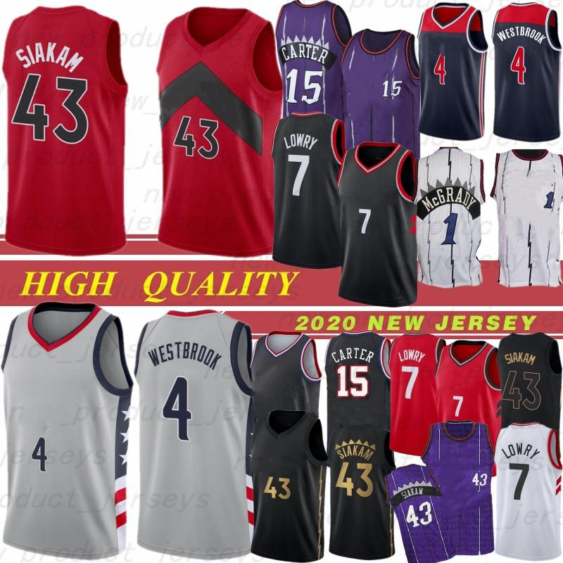 Hombres Toronto Raptors Jersey de baloncesto 43 Pascal Siakam 1 Tracy McGrady 15 Vince Carter 7 Kyle Lowry 23 Jerseys de baloncesto Fred VanVleet 19 20 Top