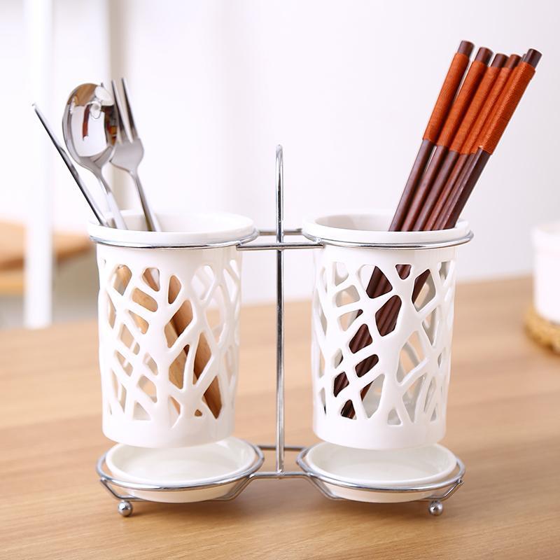 Ceramic Chopstick Holder Herramienta de almacenamiento de cocina Palillos Chopstick Dren Tube Table Decoración Restaurante Hotel Vajilla Contenedor