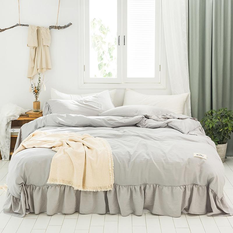 Sarı Beyaz Gri Mavi Yumuşak Polyester Pamuk Kız Yatak Katı Renk Ruffles Nevresim Nevresim Gömme Sac Yastık kılıfı Y1107 set