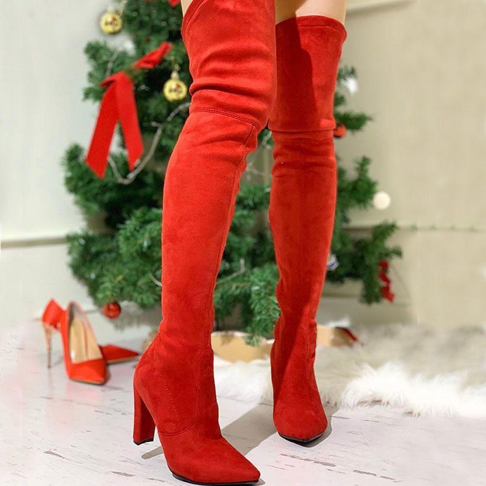 Top-Qualität auf Verkauf Dropship 2020 Mode-Absatz-große Größe 43 Sexy Party über das Knie Stiefel Damenschuhe Stiefel