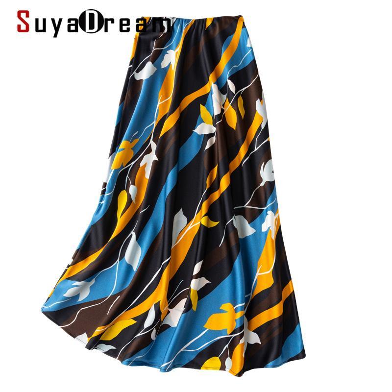 Suyadream 100% satin satin satin sirène jupe femme 2020 été jupes longues imprimer jupe bureau élégante