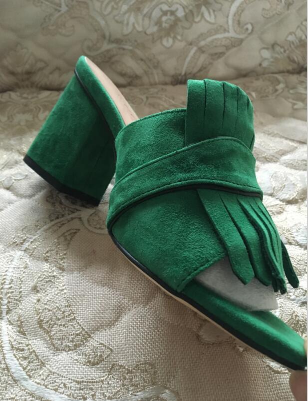 2021 Vente chaude des femmes épais de talon sandales de chaussures de bureau Dame Casual Casual Diapositives Sandales Sandales Vert Courtes Talons Filles Mode Noir Suede 42 # P76