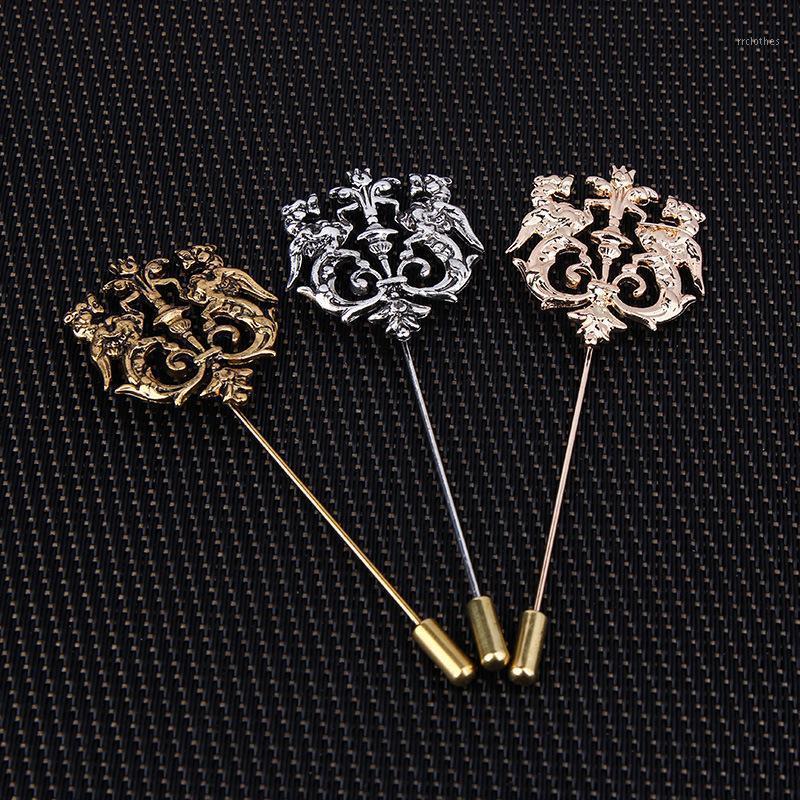 Bronze Gold Silver Tone Classic creux Double revers de lion de lion creux pour hommes costume accessoires Stick broche Broche Pins Bijoux de mariage1