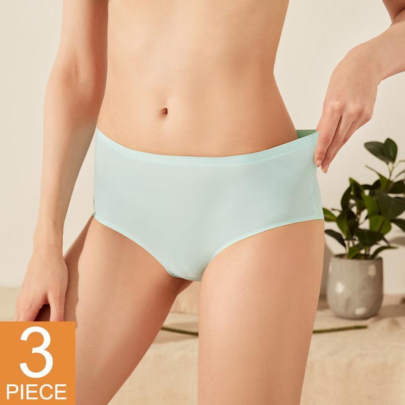 3 unids / set bragas sin costuras Mujeres sexy mujer lencería calzoncillos sólidos sólidos invisibles Pantys amigables con la piel Brotes íntimos
