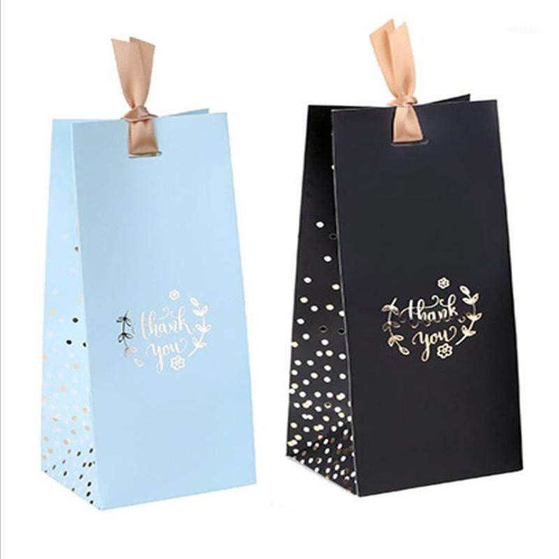 9.5x8x23см Спасибо Горячие штамповки подарочные сумки подарочная коробка упаковка Большая портативная конфета коробка черного синего нее с лентами1