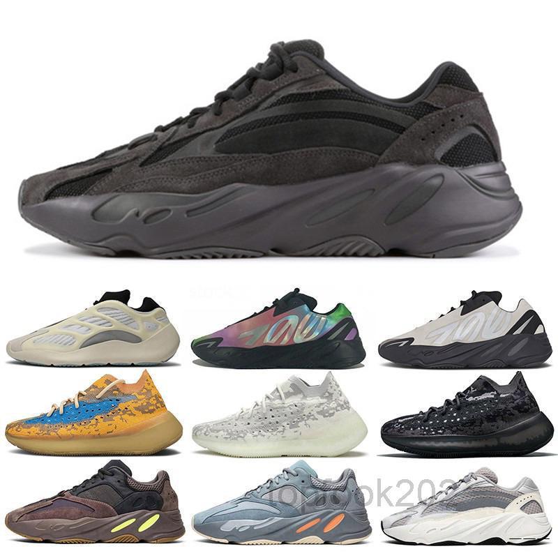 Top Quality Wave Runner Kanye West 700 V2 Magnet Gris Solide Grey Teal Carbon Bleu Runing Chaussures Men Femmes 3M Statique Statique Reflective Extérieur IDCE