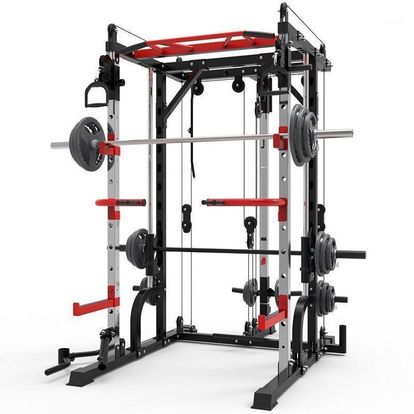 2021 Smith aço máquina de agachamento rack de pórtico quadro home fitness dispositivo de treinamento abrangente de agachamento livre supino frame.1 F7257