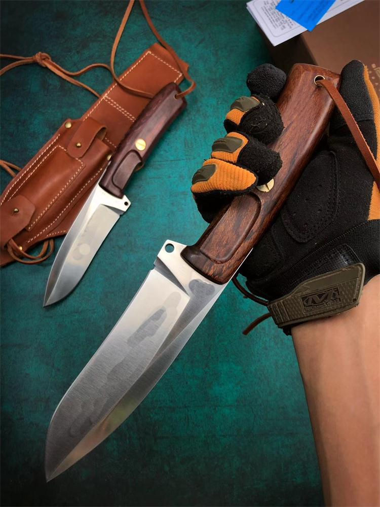 1Pcs Outdoor Survival Straight Knife N690 Satin Blade Full Tang Rosewood Handle Fixed Blades Knives With Leather Sheath and Retail Bo