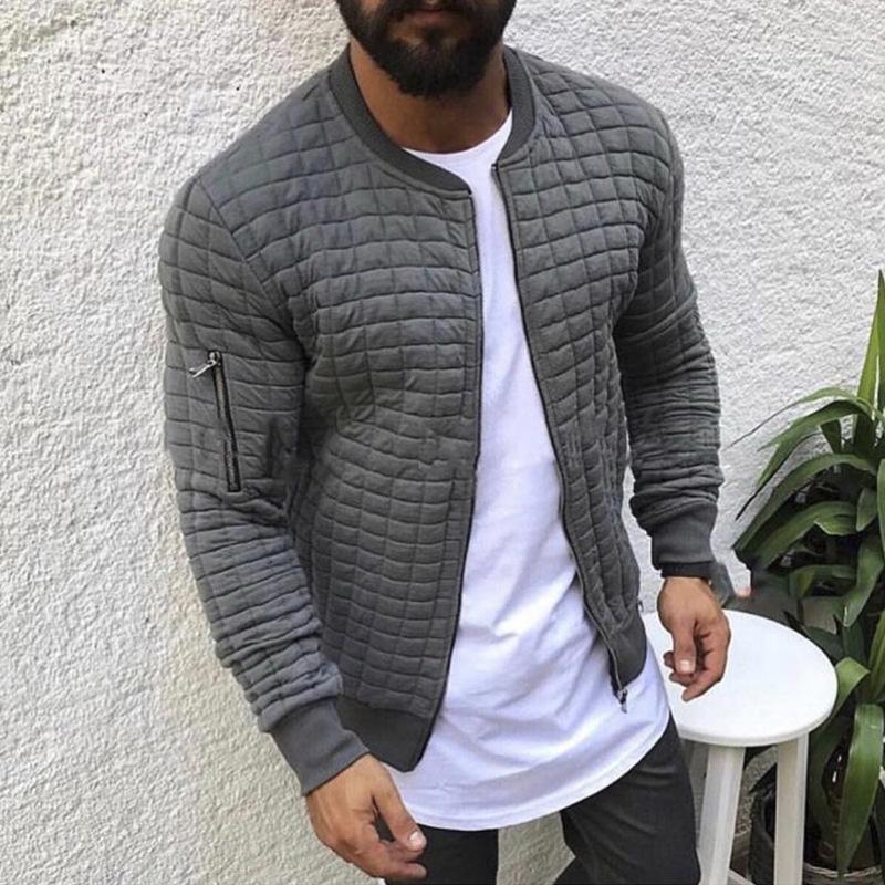 Men's Jackets 2021 And Coats Slim Fit Lattice Winter Jacket For Man WindbreakerItself Streetwear Casual Wear Drop