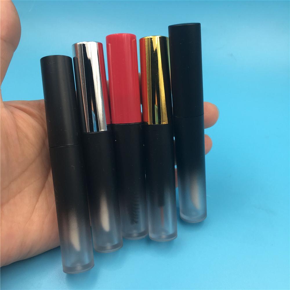 50 PC Verschiffen 4 ml Frosted Gradient Schwarz Kunststoff Lipgloss Schlauch-Flasche Eyeliner Mascara Kosmetik Verpackungsbehälter