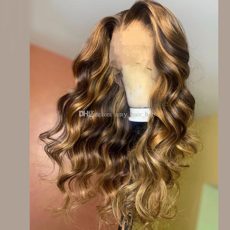 Pre arrancó 13x6 Resalte Brown pelucas delanteras Honey Blonde color brasileña cordón de la onda de Remy peluca de pelo humano Ombre