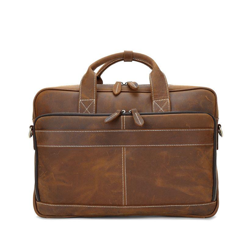 Grand sacs Porte-documents pour hommes Crazy Cuir Cuir Sacs d'affaires Hommes Sac à main à l'épaule Véritable ordinateur portable rétro Messenger Homme Cheval pour XBHWF