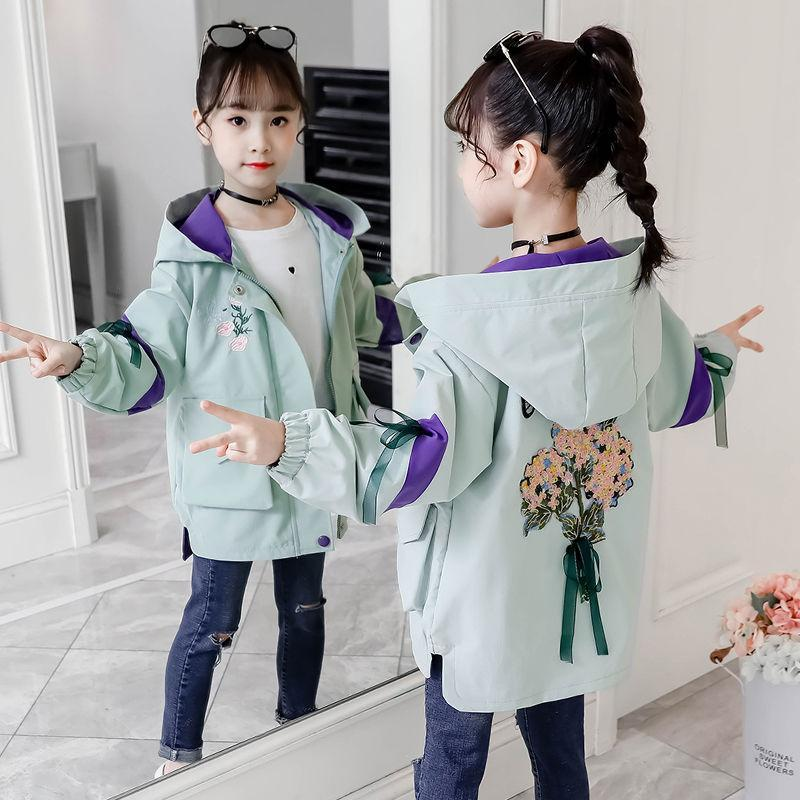 New Embroidery Jacket Girls Windbreaker Fashion Spring and Autumn Wear Children Clothes HPY011