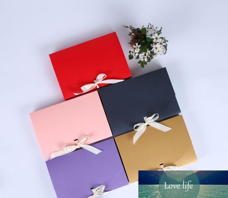 100pcs 26x17.5x3.5cm Grande bouteille boîte cadeau cosmétiques vêtements écharpe d'emballage papier boîte de couleur avec la boîte d'emballage ruban Sous SN3349