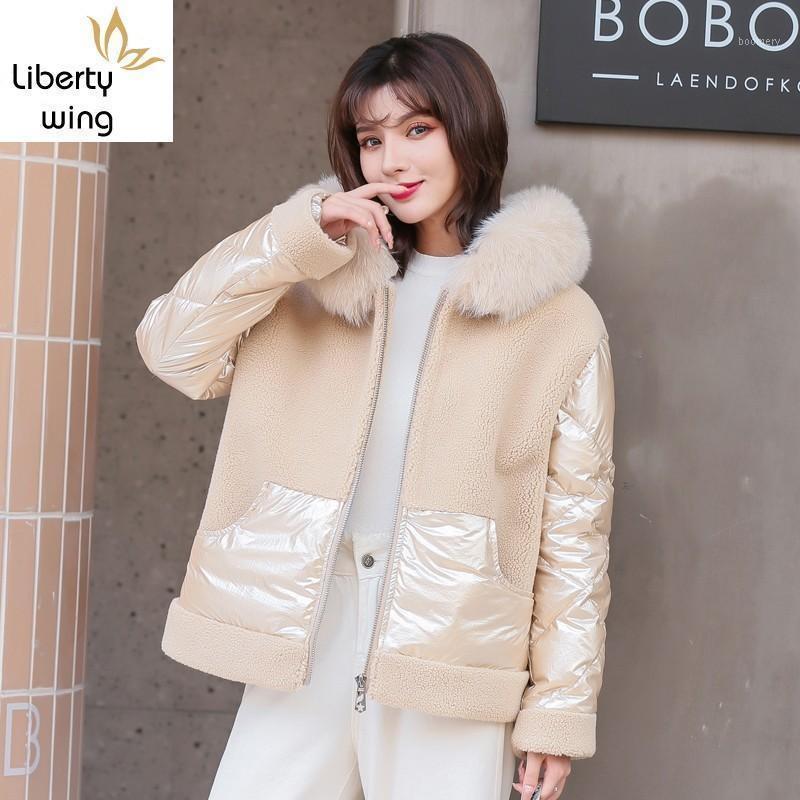 Laine mouton cisaillement femmes courtes surcelles manches manches à manches longues collier patchwork down hiver coréen chaleur chaude manteaux à capuche1