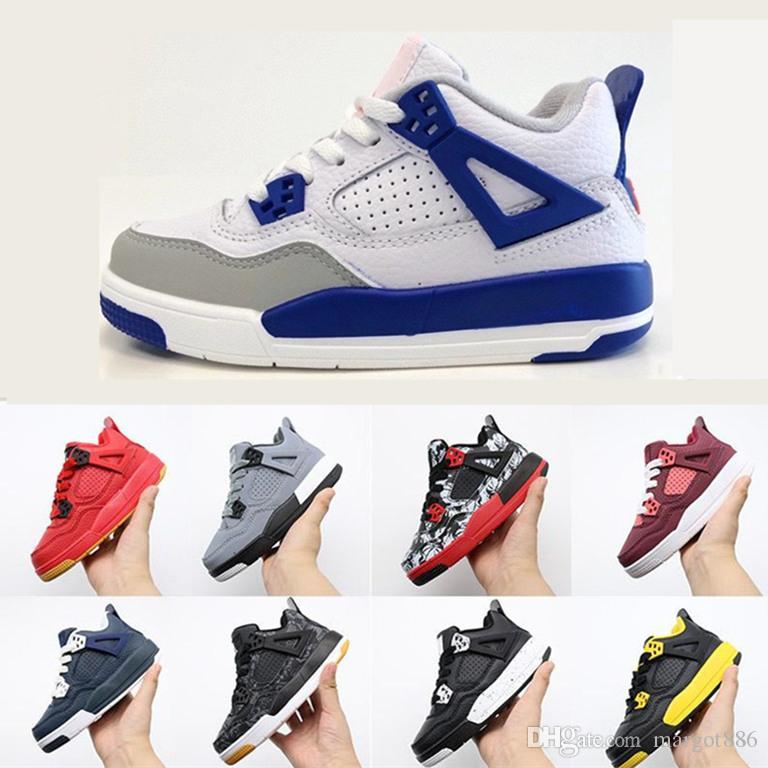 2021 Jumpman 4 4S IV Chilrrand детская корзина обувь мальчики белые красные черные кроссовки спортивные кроссовки на открытом воздухе