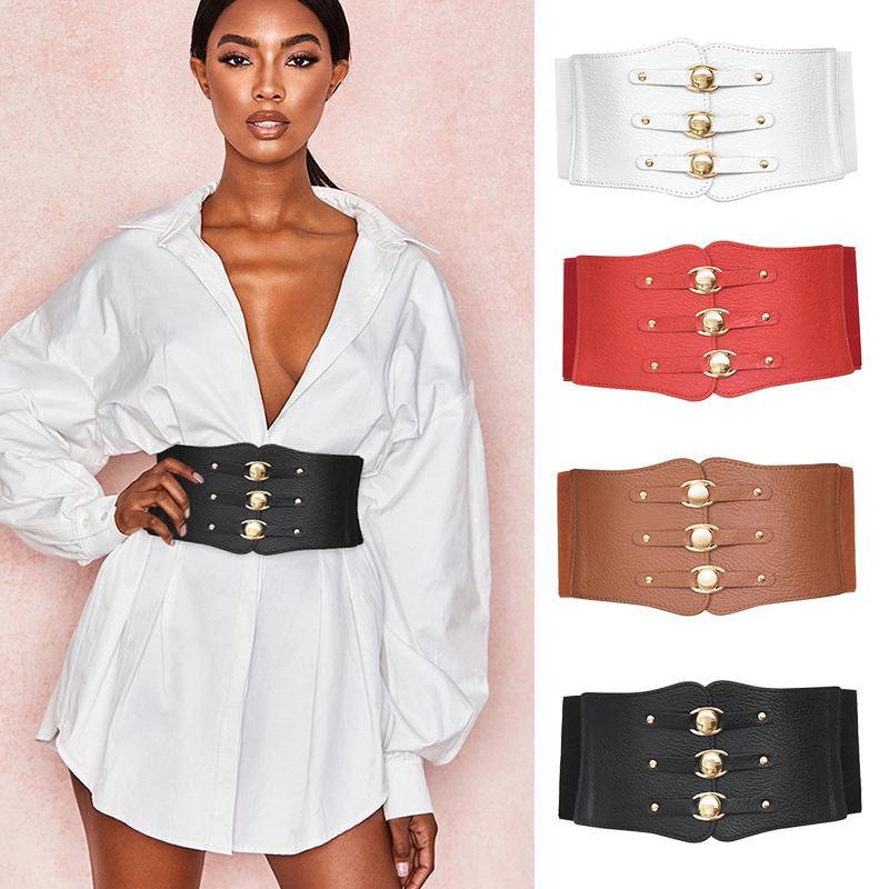 Elbise için Bayanlar Süper Geniş Bant Vintage Kadınlar PU Deri Zayıflama Vücut Kemer Yüksek Bel Elastik Korse Kayışlar