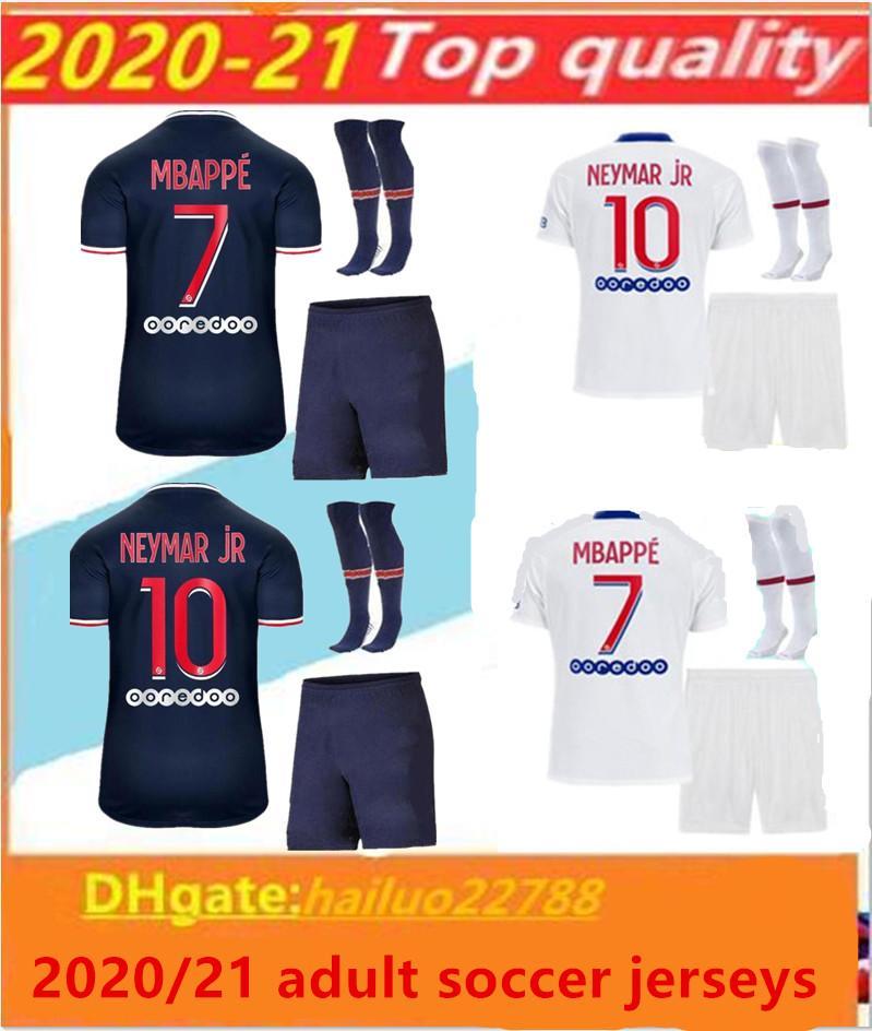 2020/21 Paris Futbol Formaları Yetişkin Seti 20/21 MBappe Ev Uzakta Üçüncü Cavani Maillot De Ayak Paris Yetişkin Gömlek Erkekler Kiti