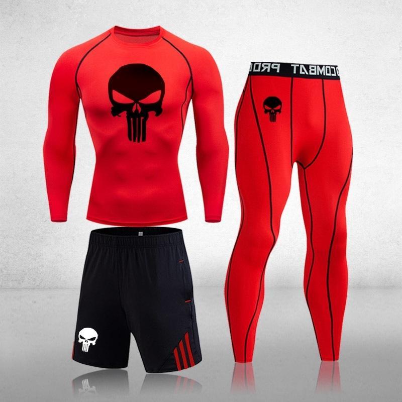 Мужская спортивная одежда сжатие спортивные костюмы быстрые сухие бегущие наборы черепа пробежки тренировок тренажерный зал Фитнес трексуиты одежда 201203