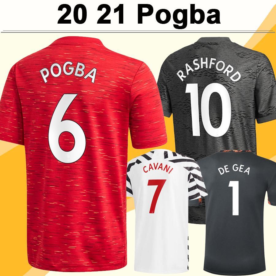2020 2021 Camisas de futebol POGBA RASHFORD JAMES MATA Home Red Away Black 3rd Goleiro Mens Football Shirt MARTIAL LINGARD MATIC Manga curta