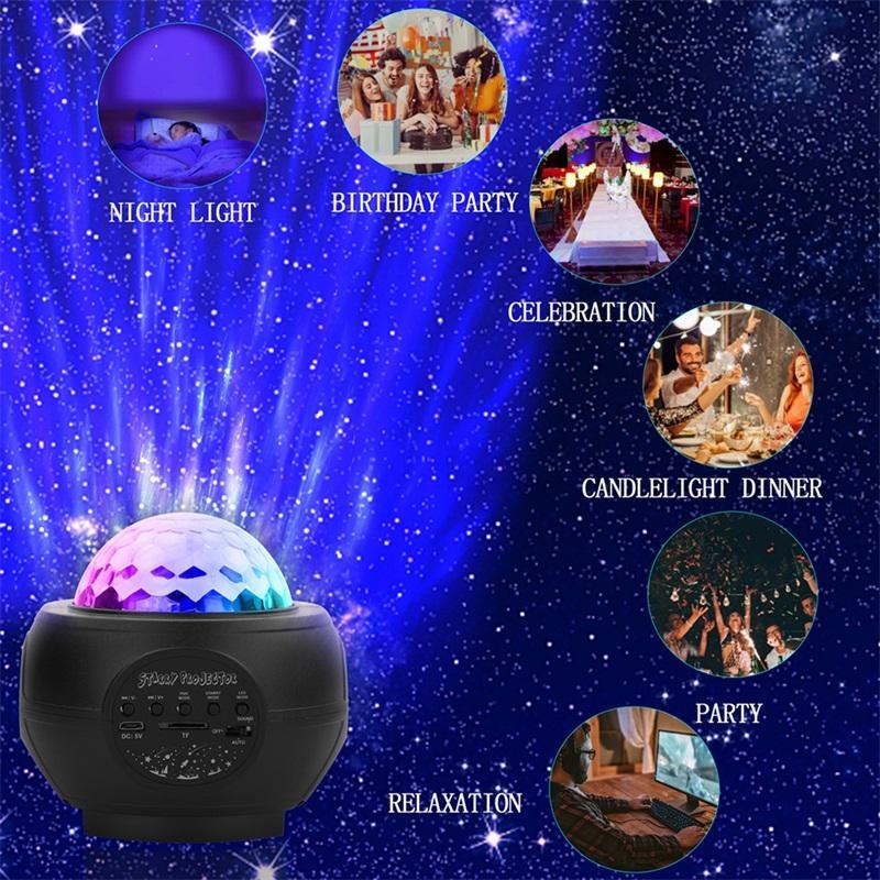 Лазерный светодиодный USB Starry Projector Blue Galaxy Sky Star Star Ocean Water Pattern Lamps Несколько режимов Музыкальный атмосферный ламп CYLPS BLACK 85QQ M2