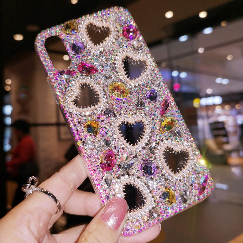 Luxe Full Diamond Perle coeur d'amour couverture de cas pour Samsung Galaxy Note 20 10 9 8 S20 Ultra S10E S10 S9 S8 plus Bling Crystal Case main
