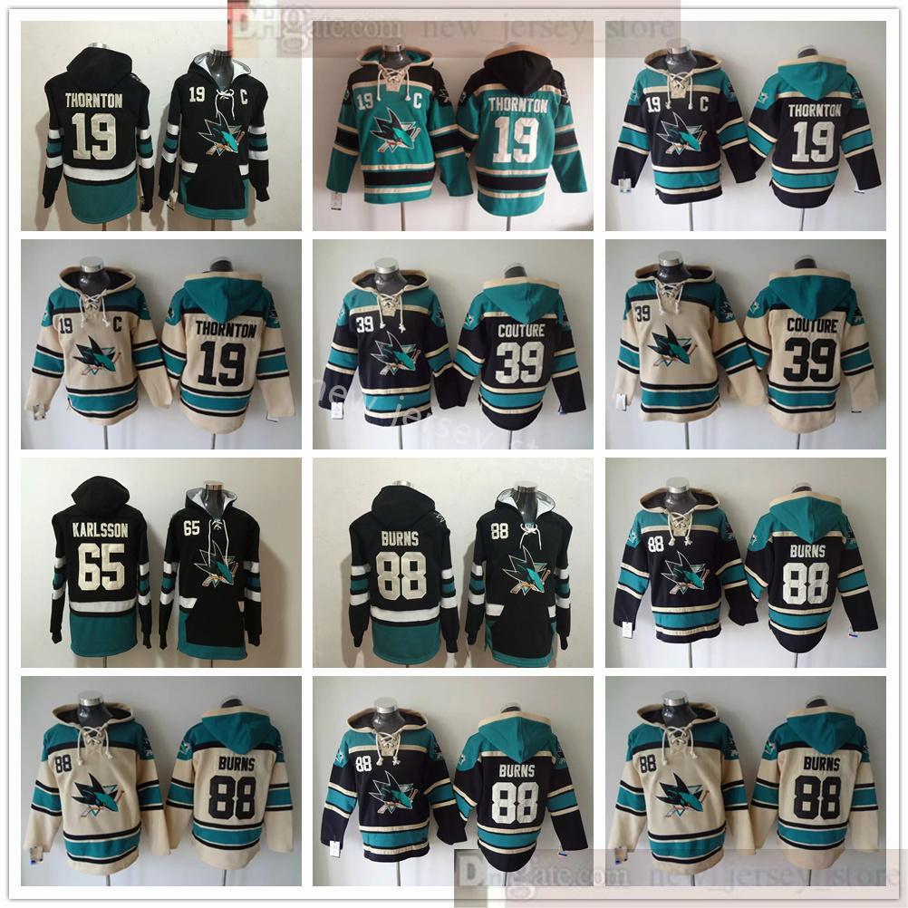 San Jose Sharks Hockey Hoodie con cappuccio 19 Joe Thornton 39 Logan Couture 65 Erik Karlsson 88 Brent Burns Black Blue Biige Hoodies Jersey