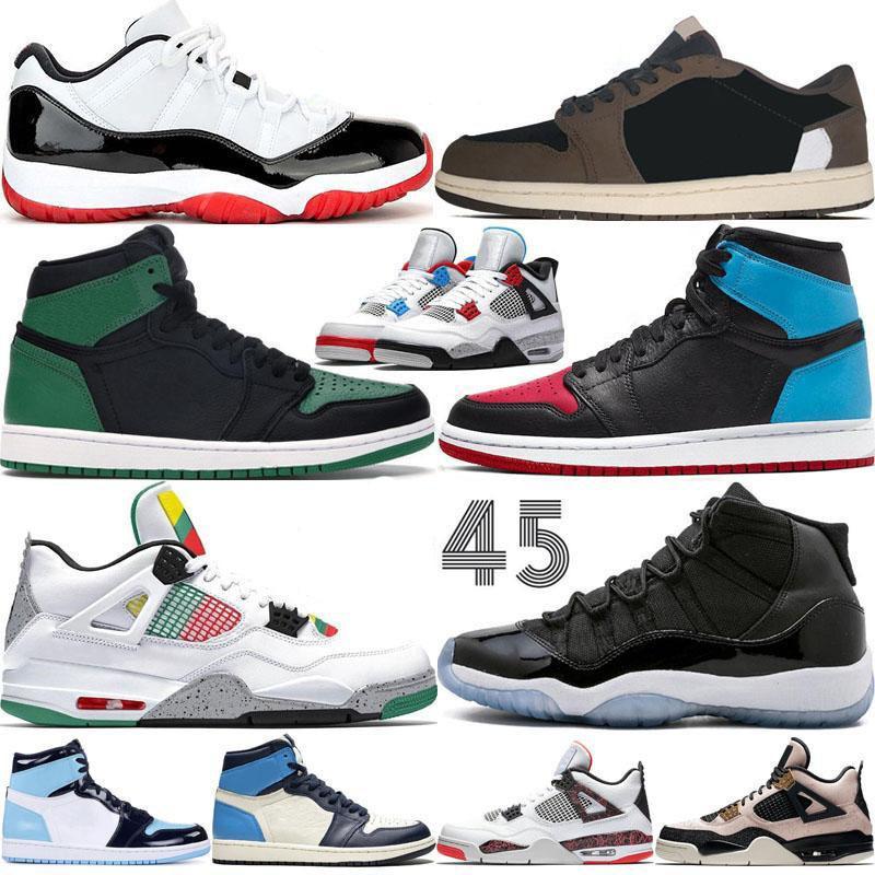 2021 Новые баскетбольные туфли Jumpman 11 11s OG Высокий суд Фиолетовый Королевский Королевский ДОЭ Осидиана UNC 4 4S Concord 1 1S Кроссовки Тренеры