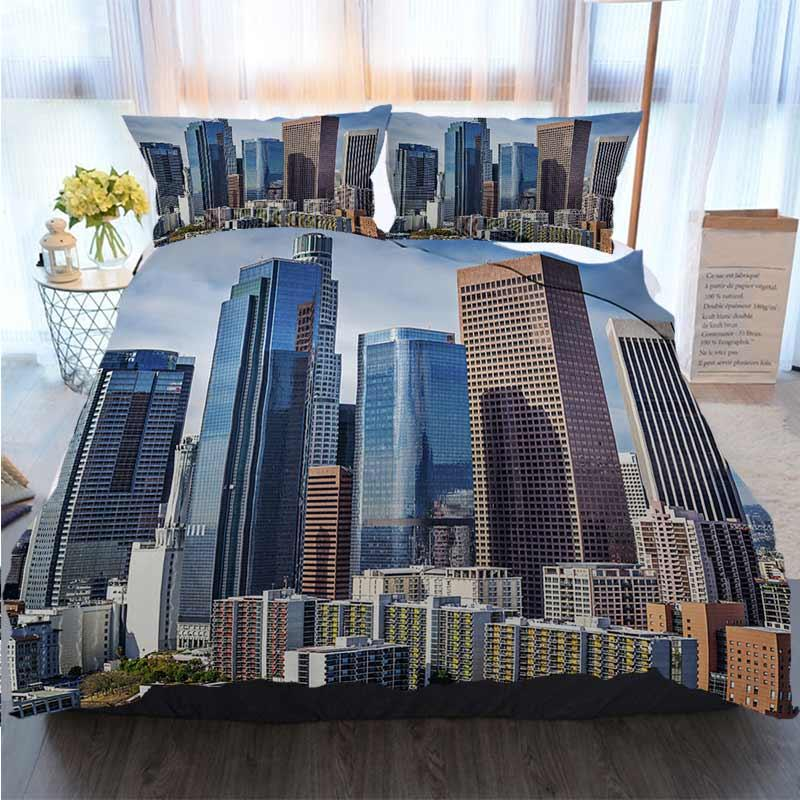 Постельные принадлежности 3 шт пододеяльник Комплекты Фотографии город Лос-Анджелес, в пододеяльнике дизайнерской кровати стеганых Наборов