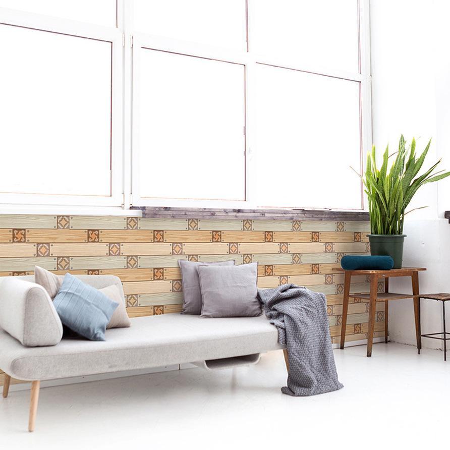 3D Impermeabile carta da parati Bagno Ristorante Ristorante soggiorno TV Sfondo Decor 30x30cm Autoadesivo Wood Grain Wall V4