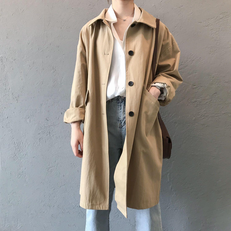 2021 Nuevo algodón otoño suelto rechazo cuello mujer ropa abrigo largo feminino abrigo mujer trinchera femme qakg