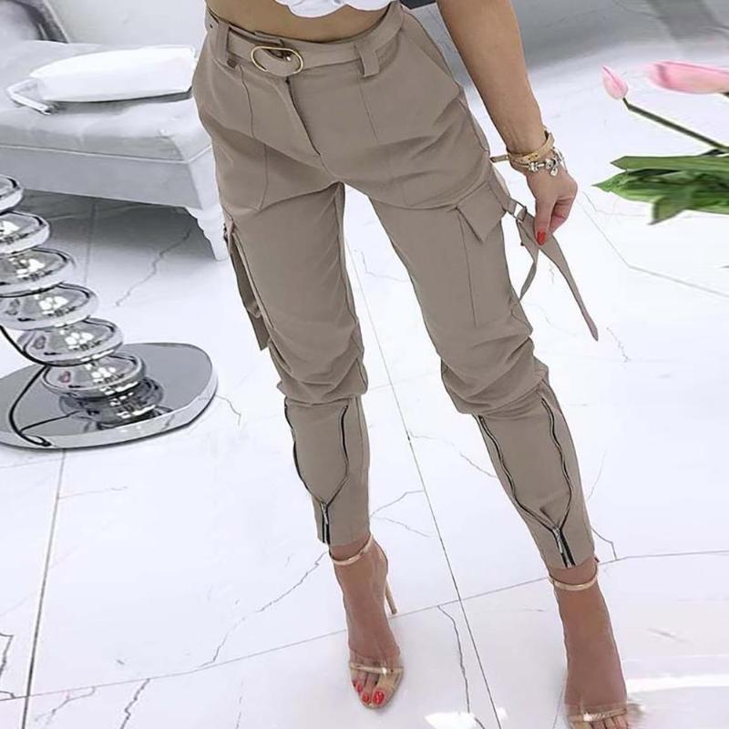 Frauen mit hohen Taille Cargo Pants Jogger dünne Reißverschlusstaschen mit Gürteln Hose Dame Casual knöchellangen Hosen Fashion Street Q30