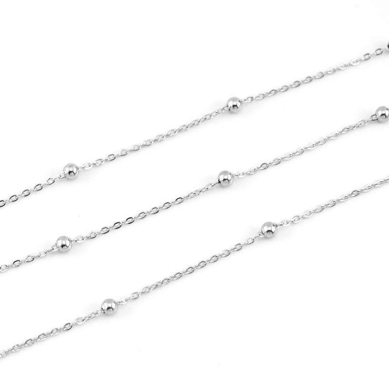 100% de aço inoxidável 1,2 milímetros Rolo Chain Link Sell Colar Com Space Ball Em 5 Metros aço inoxidável Cadenas Factory Outlet