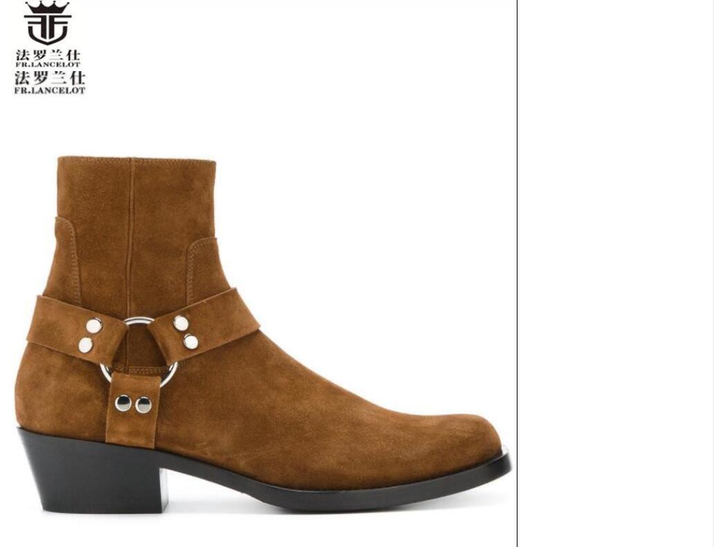 Avrupa versiyonu, yüksek topuklu sivri burun deri erkek çizmesi demir baş gündelik erkek ayakkabı moda çizmeler