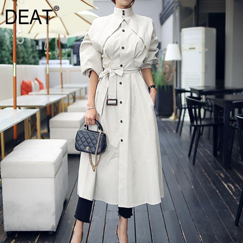 [DEAT] New Autumn Office Lady Bat Sleeved Long Length Wild Slim Waist Loose Elegant Stand Collar Women's Trench Coat MX069 201015